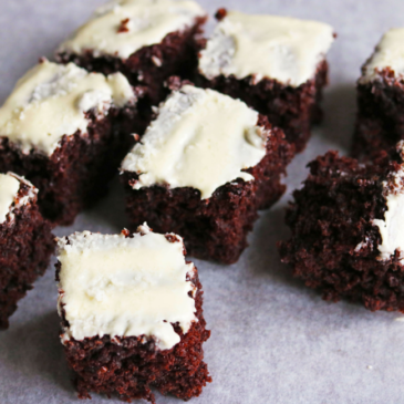 Chocolate Brownies with Cashew Icing
